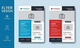 design creativo di volantini blu e rosso immobiliare, design di volantini di proprietà astratti con due modelli di variazione di colore