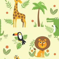 seamless per bambini con animali della giungla giraffa, leone, bradipo, tucano, coccodrillo e palma. illustrazione vettoriale. vettore