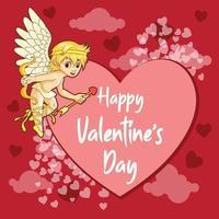 saluti di san valentino con cupido e banner cuore vettore