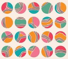 grande set di varie copertine di evidenziazione geometrica vettoriale. sfondi astratti. varie forme, linee, macchie, punti, oggetti scarabocchio. modelli disegnati a mano. icone rotonde per storie sui social media