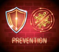 coronavirus a luce al neon con icone di prevenzione