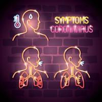 corpi con sintomi di luce al neon del coronavirus