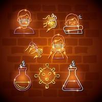set di icone di coronavirus luce al neon