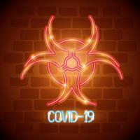 icona di coronavirus a luce al neon con simbolo di rischio biologico