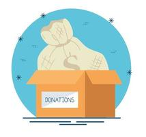 scatola di beneficenza e donazione con sacco di soldi