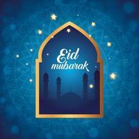 poster di eid mubarak con silhouette di moschea e decorazione vettore