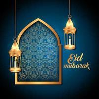 poster di eid mubarak con lanterne appese e decorazioni vettore