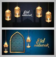 set di poster di eid mubarak con decorazioni vettore