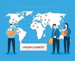 disoccupazione a causa della pandemia di coronavirus con gli uomini d'affari vettore