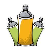 bottiglie di vernice spray icone isolate vettore