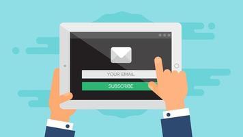 modello web del modulo email tablet vettore