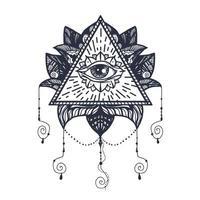 occhio sul tatuaggio del loto vettore