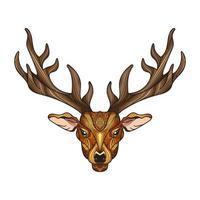 testa di cervo con le corna vettore