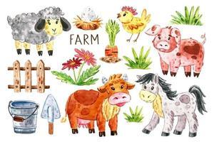 animali da fattoria insieme vettore