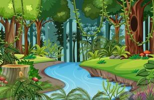 scena della foresta con fiume e molti alberi vettore