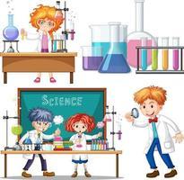 ricercatore esperimento in laboratorio vettore