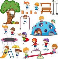 set di diversi doodle bambini personaggio dei cartoni animati vettore