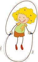un personaggio dei cartoni animati di doodle kid saltare la corda isolato vettore