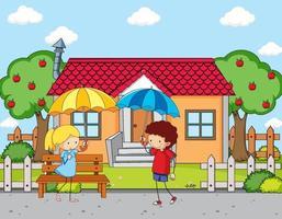 scena davanti alla casa con due bambini che tengono l'ombrello vettore