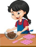 ragazza chef con attrezzature da forno sul tavolo vettore