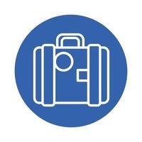 icona di stile blocco documenti valigetta portafoglio vettore