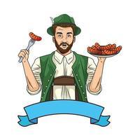 uomo tedesco che indossa tuta tirolese con salsicce vettore