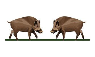 icone di animali di maiali selvatici vettore