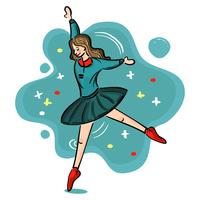 Prestazioni di balletto della ragazza della scuola vettore