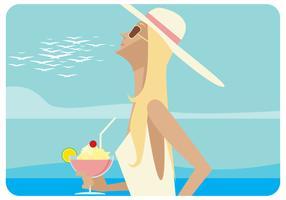 Donna alla spiaggia con il vettore del cocktail