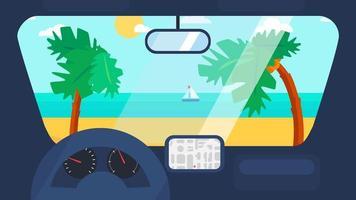 viaggio estivo in macchina vettore