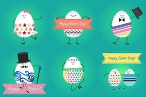 buona pasqua con uova felici vettore