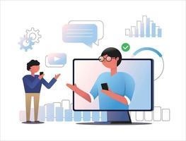 concetto digitale di consultazione videochiamata su smartphone e computer desktop. vettore