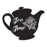 l'ora del tè con la rosa vettore