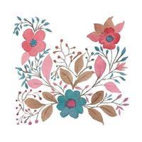foglie e fiori colorati dell'acquerello vettore