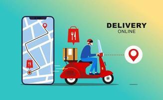 consegna online con applicazione mobile. pacchetto di consegna veloce tramite corriere sul cellulare. monitoraggio del cibo del corriere tramite l'applicazione della mappa. vettore