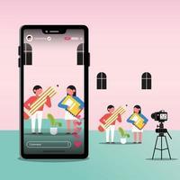 illustrazione femmina e maschio vlogger, blogger o influencer, registrando nuovi video in streaming live su smartphone