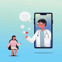 consultazione della paziente donna con il medico tramite smartphone. vettore