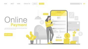 acquisti online e pagamenti online su sito Web o applicazione mobile. pagina di destinazione del pagamento online in stile piatto. colore dell'anno 2021. vettore