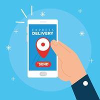 mano utilizzando smartphone con consegna espressa app vettore