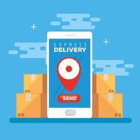 smartphone con consegna espressa app e scatole vettore
