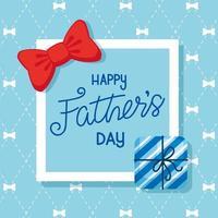 carta di felice festa del papà con confezione regalo e papillon in una cornice quadrata vettore