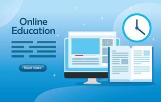 piatto di banner di tecnologia di formazione online con computer e icone vettore