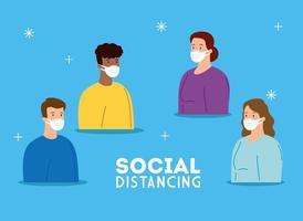 campagna di allontanamento sociale del coronavirus con persone che indossano maschere facciali vettore