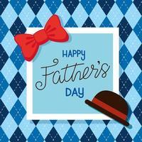 carta di felice festa del papà con elegante cappello e papillon vettore