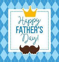 carta di felice festa del papà con corona re e decorazione baffi vettore