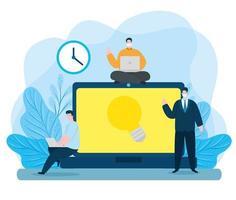 uomini di tecnologia di istruzione online con icone vettore