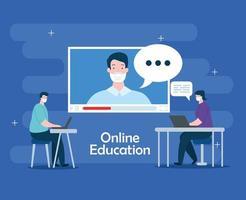 tecnologia di formazione online con persone e laptop vettore