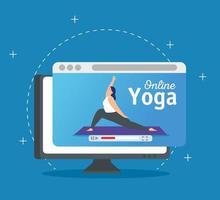 donna a praticare yoga tecnologia online vettore