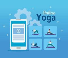 donne che praticano yoga online vettore