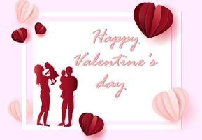 concetto di giorno di San Valentino con la famiglia vettore